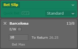 Bet365 betslip example